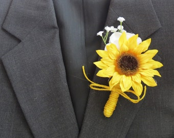 Sunflower Boutonniere and Baby's Breath with Yellow Twine Prom Wedding Flowers
