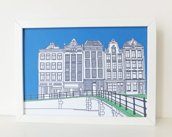 Amsterdam Print, Blue print, artwork, Picture of Amsterdam, Holland, Illustration of Amsterdam, Picture of Canal Houses, travel