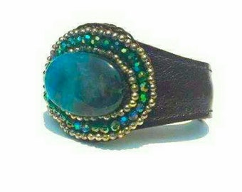 Beaded crystal  leather cuff