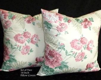 Decorative Pillows, Accent Pillows, Pillow Covers, 18 Inch Pillows, Cushion Covers - Pink and Ivory Floral - Two 18 Inch