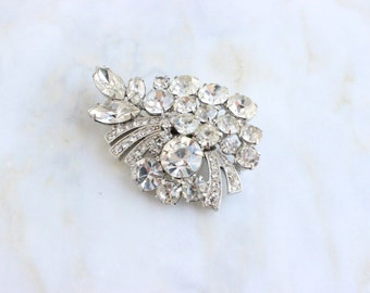 50s 60s Rhinestone Floral Flower Spray Brooch Pin Signed Weiss