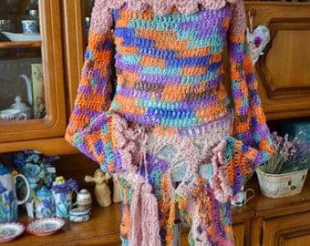 Romantic,bohemian crocheted dress,cardigan,gypsy,mori girl,fairy,fae,dress Summertime