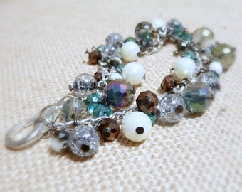 Glass Cha Cha Bracelet, Metallic Glass Bead Bracelet, Blue And Gray Bracelet, Stormy Skies Bracelet, Large Or Extra Large Bracelet, Handmade