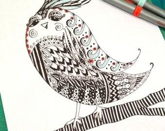 Bird Coloring Page Zentangle Kids Adult Doodle Design Printable Instant Download Animal Activity
