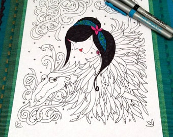Dragon Lady Coloring Page Zentangle Kids Adult Doodle Design Printable Instant Download Zen Art Therapy