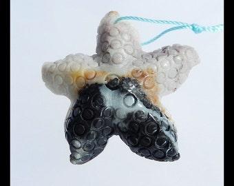 Carved  Starfish Amazonite Gemstone Pendant Bead,43x10mm,15.3g