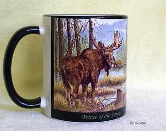 MUGS, Ceramic 11 OZ Moose Mug, Moose decor, Wildlife, Wildlife mugs, Ellen Strope, Coffee mugs