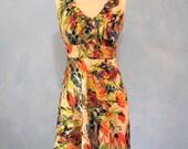 Floral Sun Dress, Floral Dress Size 4, Donna Ricco Dress