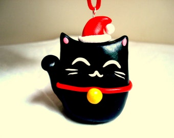 Lucky Cat Christmas Ornament Cat Ornaments Christmas Decoration Christmas Ornament Black Lucky Cat Cute Kitty Christmas Ornament