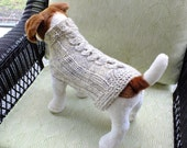 "Dog Sweater Fisherman Cable Small 12.5"" inches long Wool"