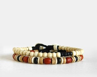 Mens koi beaded bracelet set, red wood, bone, coco, button clasp