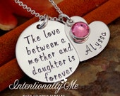 Personalized Mommy Jewelry - Hand Stamped Sterling Silver Necklace - The love between a mother and daughter is Forever