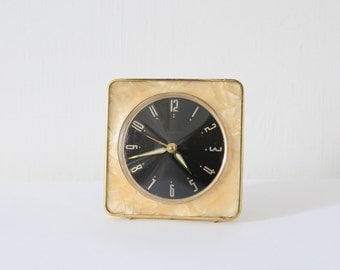 Vintage Westclox faux marble square wind up clock