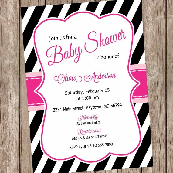 Hot pink and black stripe baby shower invitation girl baby shower il570xn filmwisefo