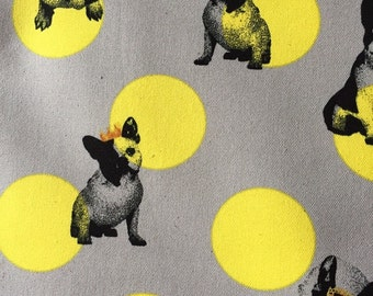 1 yard  Cute bulldog with dots printed cotton fabric  Japanese fabric