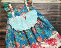 Whimsical multicolor birthday girl dress, girl modern dress, toddler colorful dress, bright girl dress for toddlers to tween