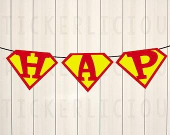 Custom SUPERMAN Logo Party Banner - Your Message - DIY Digital Printable PDF