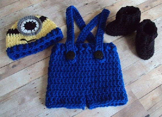 Hand Crochet Baby Minion Hat Overalls Boot Set Yellow