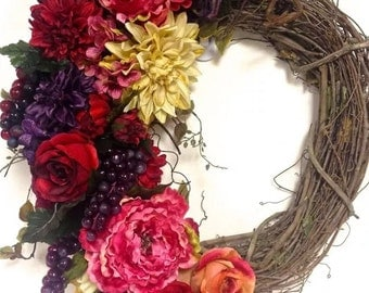 """Tuscan Floral Wreath Fall Wreath Purple Red Cream Salmon Pink Silk Floral Wreath 24""""x28"""" Indoor Outdoor"""
