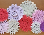 10 Dyed Craft Doilies, Vintage Crocheted Doilies for Crafts and Decor