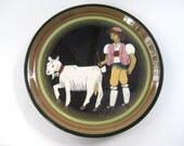 """Mid Century Swiss Folk Art Pottery 8"""" Plate by Burkart Kunst Keramlk~Signed"""