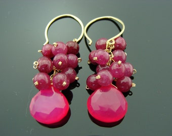 Hot Pink Chalcedony and Ruby 14K Gold Filled Earrings