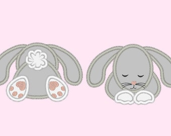 Little bunny front  back - machine embroidery applique designs, many sizes 4x4 5x7 INSTANT DOWNLOAD