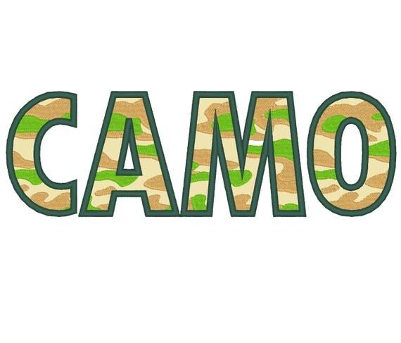 Camo CAMOUFLAGE Font Machine Embroidery Applique Designs