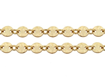 14Kt Gold Filled 4mm Hammered Sequin Disc chain - 100ft (5319-100)/1