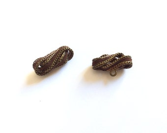 2 Brown Suede & Gold Metal Buttons, Antique Buttons, Rare, Collection