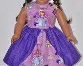 Handmade Lavender Princess Purple Polka Dot Dress and Hat Fits American Girl Doll