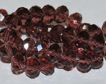 23 pcs 8x6mm Transparent Plum Amethyst Wine Rondelle Glass Beads