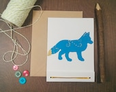 Blue Fox Card - Hand Painted - Totem Animal - Spirit Guide - Blank Card - Birthday - Greeting - Inspiration - Note Card - Woodland - Nature