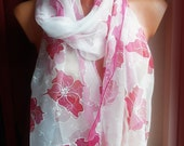 Hand painted silk chiffon scarf , white and pink,flowers,summer scarf