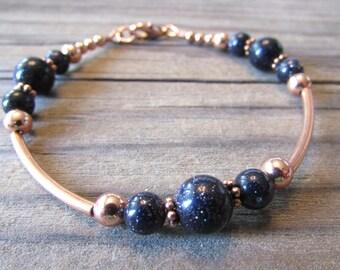 Galaxy - Blue Goldstone Bracelet in Copper, Midnight Sun Sitara
