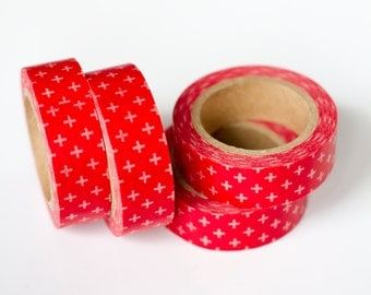 1 Roll of Red and White Crosses Masking Tape / Japanese Washi Tape (.60 inches wide x 33 feet long)