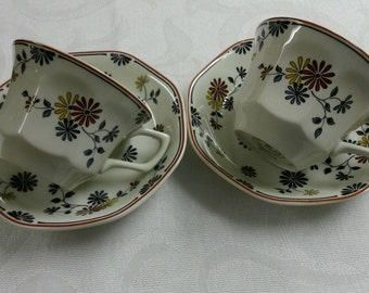 """Two Adams Tea Cups and Saucers; Titled """"Vermont"""" Red Trim   DS"""