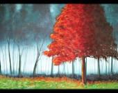 Original Large Red Tree Painting 24x36