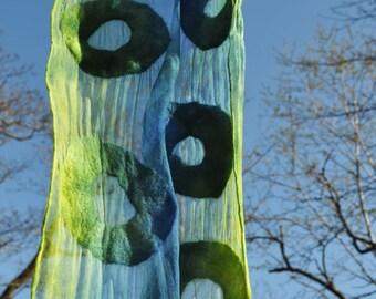 SALE - Felted scarf, silk, wool, nuno, felted, gift, fibre art, green, blue