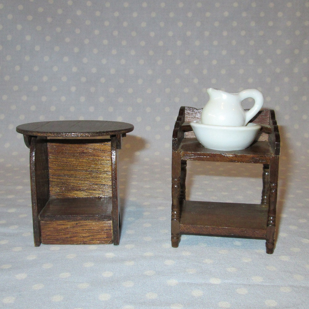 2 pcs Vintage Doll House Furniture Miniature Stained Wood Bedroom