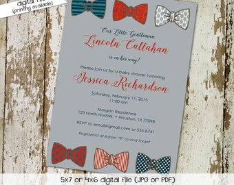 bow tie baby shower invitation little gentleman baby boy shower baptism christening couples shower bash (item 1203) shabby chic invitations