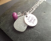 Live Laugh Love Irish Sea Glass Necklace with White Beach Glass from Ireland in Purple and Silver, Engraved Pendant, Inspirational Jewelry