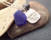 Beach Necklace, Scottish Sea Glass Jewelry, Cobalt Blue Beach Glass from Scotland, Dreaming of the Sea Charm, Travel Memento