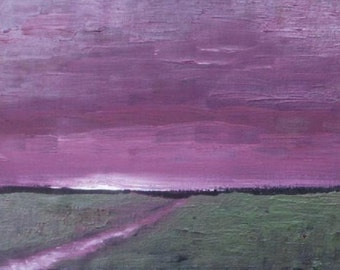"""Purple Dawn - Original oil painting - Abstract Landscape Painting - impressionist - canvas board 5""""x7"""" - daily painting"""