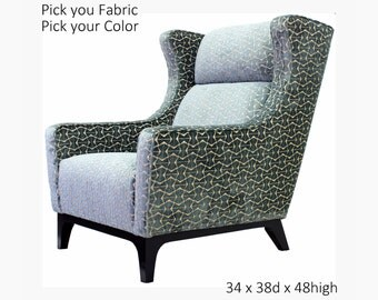 Modern Man Wing Back Chair Custom  Made Home Decor Designer Fabric