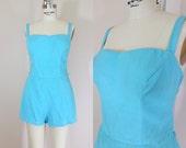 1950s Swimsuit • Aqua Blue Vintage 50s Bathing Suit • Size Medium