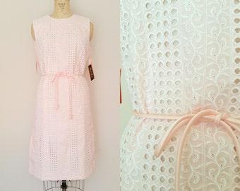 1960s Dress // O MY DARLING Dress // Vintage 60s Pink Tie Waist Dress // Large