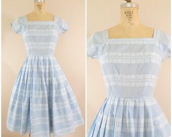 1950s Blue Dress • Aztec Print Dress • Vintage 50s Cotton Dress • XS