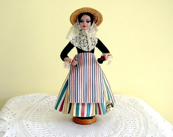 Vintage Spanish Balearic Peasant Rustic Doll on Plinth National Dress Costume Castanets Munecas Beibi Collectible made in Spain Label