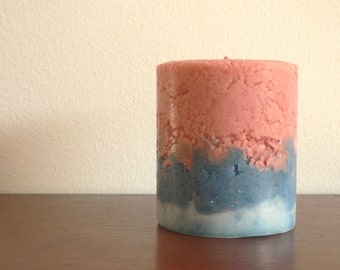 Rustic pillar candle red blue and white bubblegum and ocean breeze scented candle / Rustic & woodland home decor / Garden decor / Gift idea